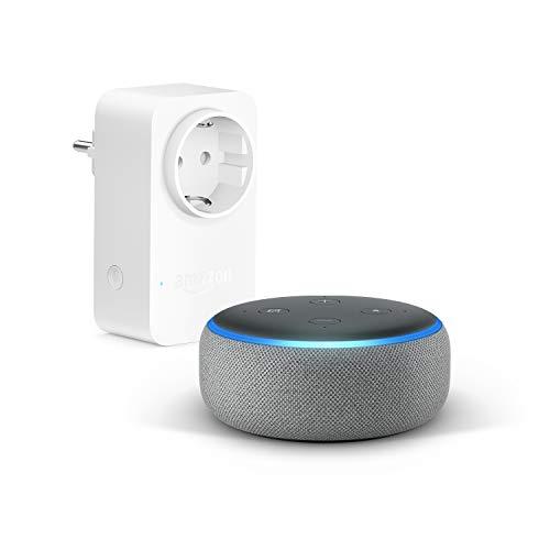 Echo Dot (3.ª generación), Tela de color gris oscuro +Amazon Smart Plug (enchufe inteligente wifi), compatible con Alexa