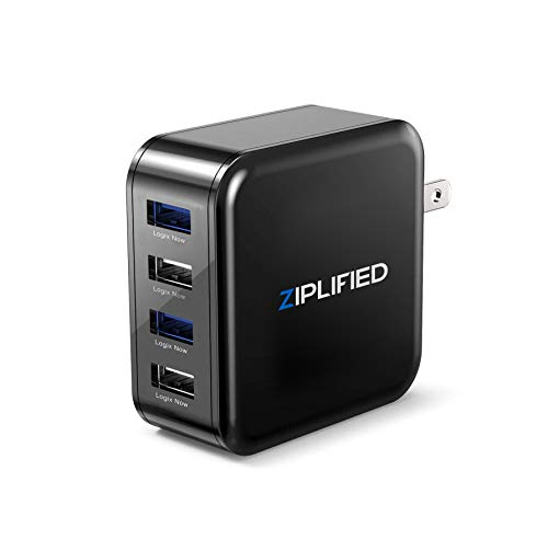 Ziplifed USB Multi Wall Charger Adapter, Four USB Ports with Blue LED's and LogixNow Technology and Foldable Plug for iPhone XS, X, 8, 8 Plus, iPad, Samsung Galaxy Phones and Tablet's