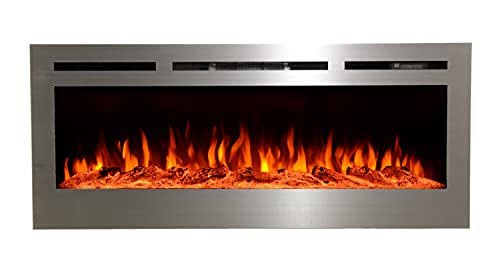 Touchstone 86273 - Sideline Stainless Steel Electric Fireplace - 50 Inch Wide - in Wall Recessed - 5...