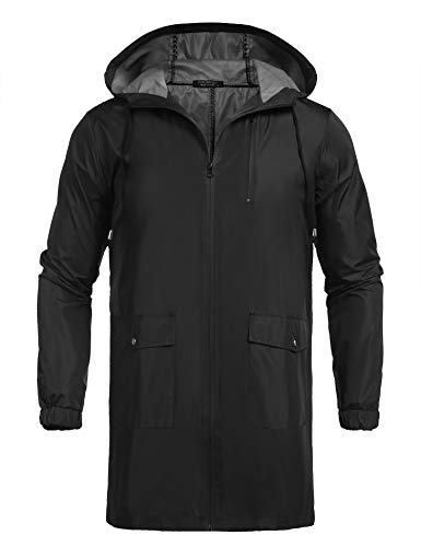 COOFANDY Men's Waterproof Hooded Rain Jacket Lightweight Windproof Active Outdoor Long Raincoat Black