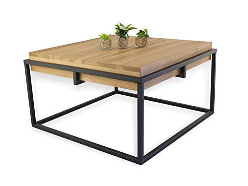 Lumarc Gorizia, Couchtisch aus Massivholz Natur Eiche im Industrial Minimalistisch Design, Quadratisch, 75x75x42 cm (Schwarz)