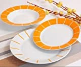Albalù Italia Servizio Piatti Color Arancio con Linee di Design per 6 Persone (18 Pezzi : 6 Piatti Piani, 6 Piatti Frutta,6 Piatti Fondi)