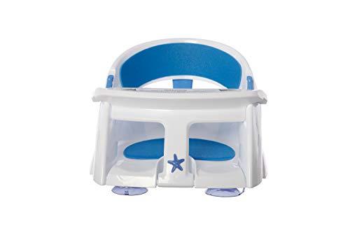 Dreambaby Silla de Baño plegable, acolchada y con indicador de calor, blanco y azul