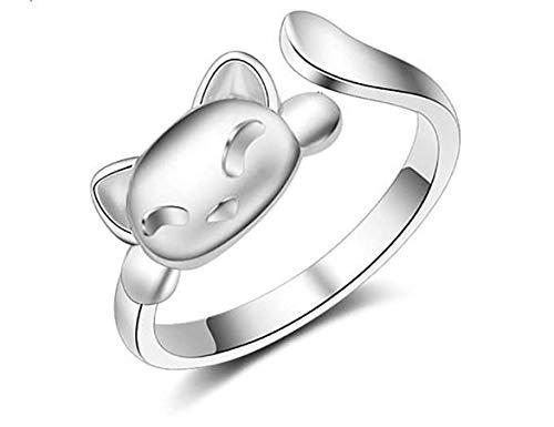 Hugyou - Anillo creativo abierto para mujer, diseño de gatos, accesorios de joyería para decoración