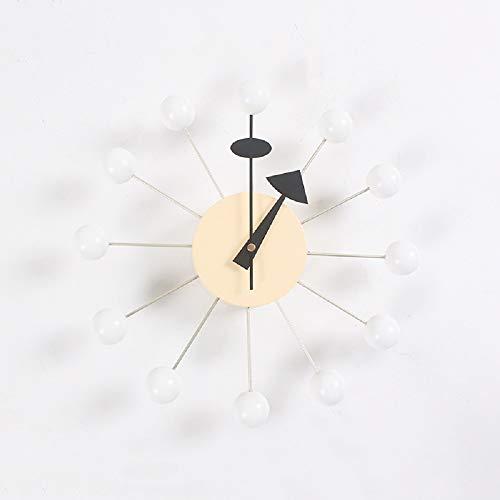 Generies Reloj de Pared, Reloj Candy, Reloj de Bolas de Madera, Funciona con Pilas con Movimiento silencioso, Relojes Decorativos para el Aula, la Oficina, el hogar. (Blanco)
