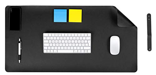 MyGadget Vade Protector de Escritorio en Cuero PU 60 x 30 cm - Alfombrilla Antideslizante en Piel Ecológica para Mesa Gaming Ordenador - Negro