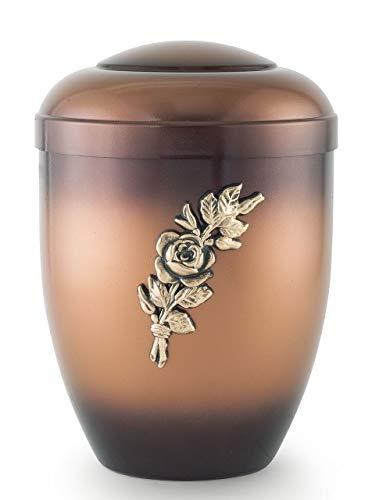 The Coffin Company Urne funéraire biodégradable pour cendres – Urne funéraire adulte homme ou femme – Édition spéciale – Couleur bronze teinté avec ornement branche de rose