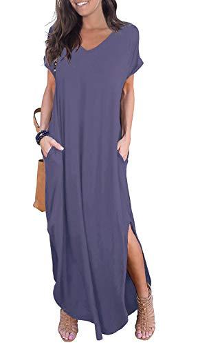 GRECERELLE Womens Casual V Neck Side Split Beach Dresses Long Maxi Dress Purple Gray X-Large