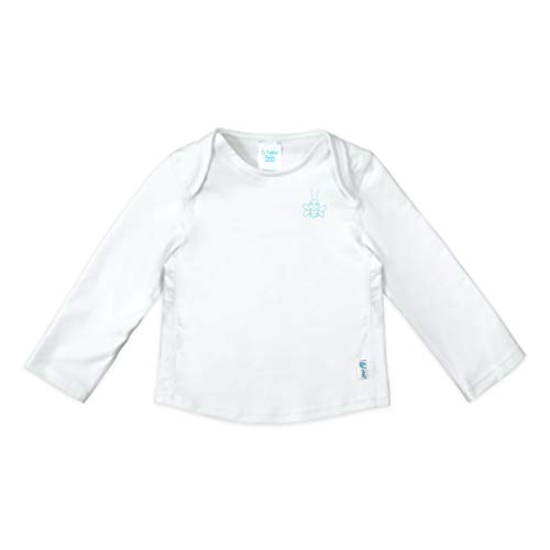 i play. by green sprouts Baby Long Sleeve Rashguard | All-Day UPF 50+ Sun Protection—Wet or Dry, White, 6mo