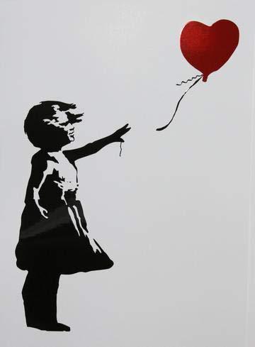 shopbanksy meisje met ballon wit met folie hart A3-3D geVectoreerde afdrukken van originele banksy (unframed)