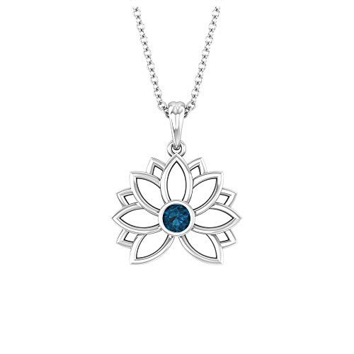 Colgante de flor de loto, collar solitario, 3 mm de forma redonda, topacio azul Londres, colección de joyas florales de oro macizo, regalo de San Valentín para ella, 18K Oro blanco Con cadena