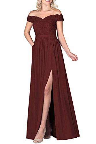 Lamosi Off The Shoulder Long Bridesmaid Dress Chiffon Lace Evening Dresses Slit Wedding Party Gowns Burgundy Size 18