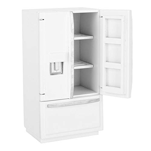 Zerodis 1: 12 Doppeldeck Kühlschrank, Mini Birke Holz Mini Kühlschrank Kühlschrank Puppenhaus Küchenmöbel für Puppenhaus Dekoration(Weiß)