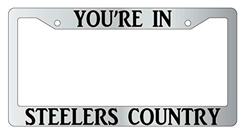 License Plate Frames, You're In Steelers Country License Plate Frame Auto Accessory Applicable to Standard car Rust-Proof Rattle-Proof Weather-Proof License Plate Frame Cover 15x30cm