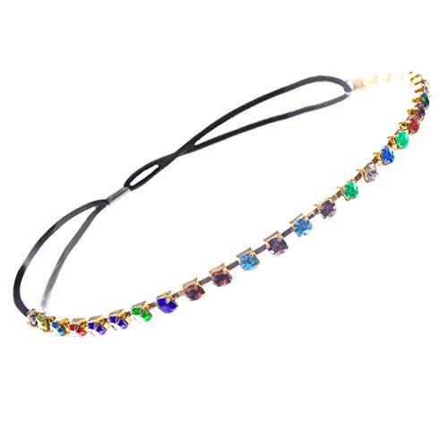 Rosemarie & Jubalee Women's Sparkly Crystal Rhinestone Stretch Elastic Headband Hair Accessory (Multi Color/Gold Tone)