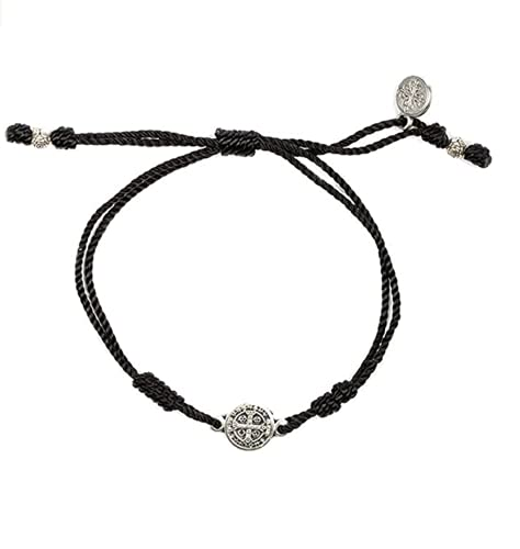 My Saint My Hero Breathe Bracelet - handwoven and includes silver plated benedictine cross medal at the center