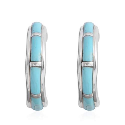 Shop LC SANTA FE Style 925 Sterling Silver Kingsman Western Turquoise Southwest Boho Prom Jewelry Hoops Hoop Earrings for Women Mothers Day Gifts
