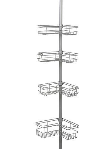 Zenna Home 2159NN Tension Pole Shower Caddy, Satin Nickel