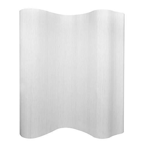 FTVOGUE- Raumteiler Stellwand Sichtschutz Paravent Trennwand aus Bambus, Weiß, Dicke 3 mm, 250x165 cm