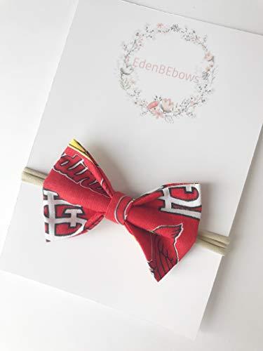 St. Louis StLouis St.Louis Cardinals Cardinal newborn nylon headband bow - great for newborns toddler girls and babiy - Made in USA
