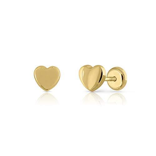 Pendientes Oro de Ley Certificado/Niña/Mujer. Diseño Corazón. Cierre de seguridad a rosca. Medida 6 mm. (1-3576)