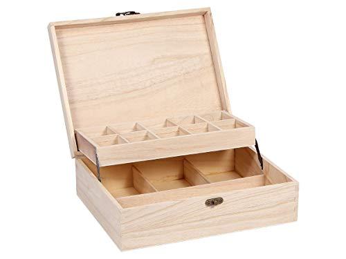 Alsino Setzkasten Sammler-Box aus Holz mit Deckel Nähkasten Sortierbox für Figuren Schmuck Mineralien und Sammlerschätze, SK-22 28cm-22cm-9cm