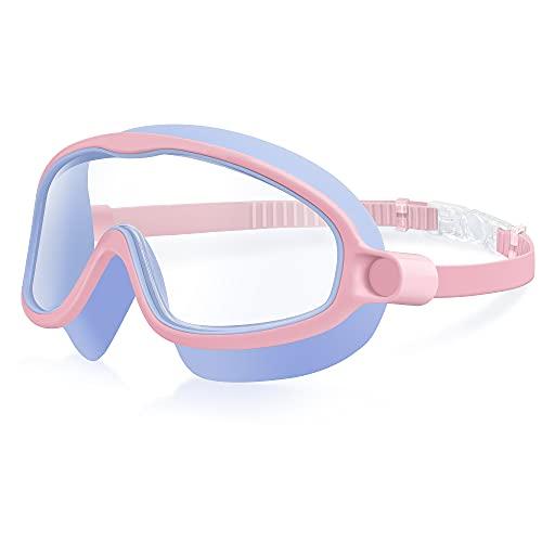 moudou Gafas de natación para niños, antifugas, antivaho, visión amplia, para niños y niñas de 4 a 15 años (Rosa)