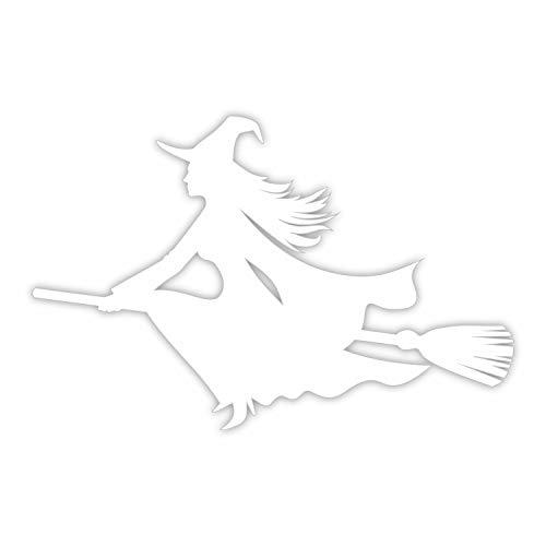 Pegatina bruja voladora con escobilla izquierda I blanco I 20 x 13,5 cm I como pegatina de coche, para el ordenador portátil maletas habitación de niños I resistente a la intemperie I kfz_489