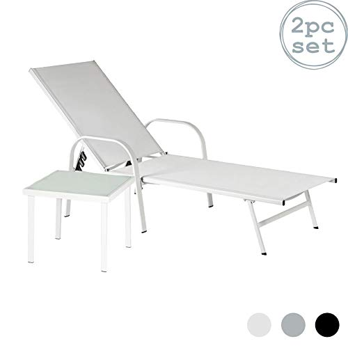 Harbour Housewares Sussex Tumbona y mesa lateral Set - Ajustable reclinado al aire libre muebles del patio - cm - blanco