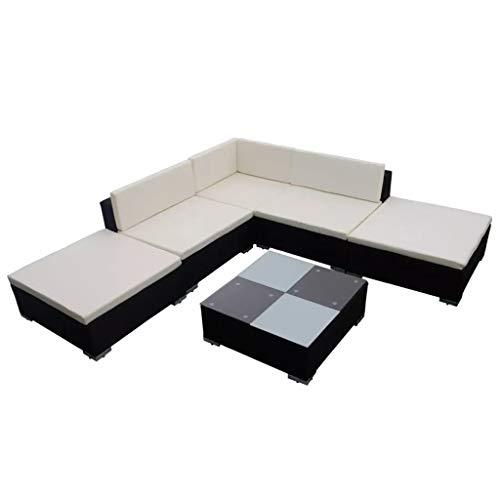 Juego de 6 sofás de jardín de polirratán negro con cojines de sofá exteriores, resistente a los rayos UV, impermeable, estructura revestida de polvo + patas de plástico