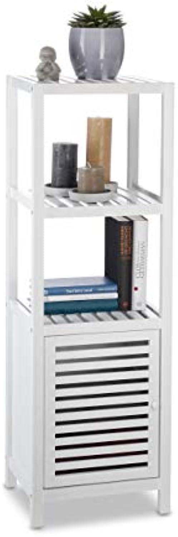 Relaxdays Bambus Regal 4 Ablagen, Schrankteil, magnetischer Verschluss, Holzregal, HxBxT  110 x 36,5 x 33 cm, wei