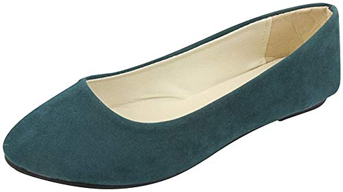 Stiefel Damen Flachschuhe Einzel Schuhe Frauen Sandalen Casual Halbschuhe Comfort Sohle Freizeitschuh Wildleder,Dunkelgrün,EU 43