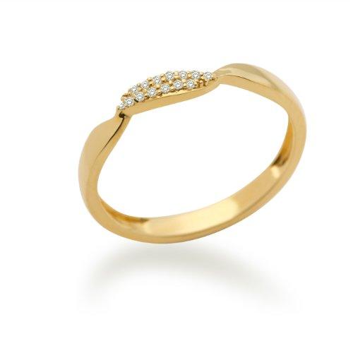 MIORE MF9011RYM - Anillo de oro amarillo de 9 quilates con diamante (.05), talla 12 (16,56 mm)