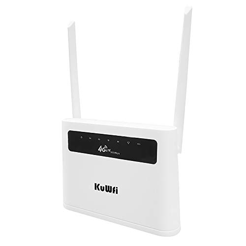Enrutador KuWFi 4G, compatible con tarjeta LAN de alta velocidad 4G LTE de 300Mbps Tarjeta CPE inalámbrica LTE Hasta 32 usuarios Uso doméstico (sin batería)