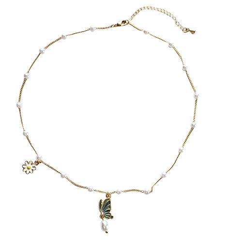 Oro Rosa aleación Collar con Colgante de Mariposa Moda geometría Collar de Flores para Mujer Regalos de joyería