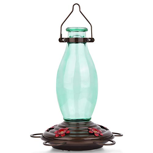 BOLITE 18001 Hummingbird Feeder Glass Wild Bird Feeders, Retro Edison Bulb Bottle, 25 Ounces