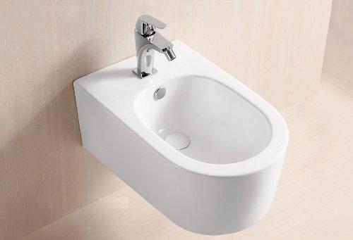 Lux-aqua STR5019-N - Bidet da parete con rivestimento nano, colore: Bianco