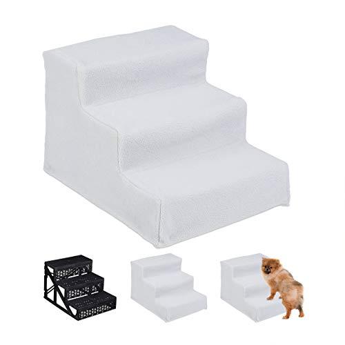 Relaxdays Hundetreppe 3 Stufen, kleine & große Hunde, Bett & Couch, Stoffbezug, Tiertreppe innen, HBT: 30x35x45 cm, weiß