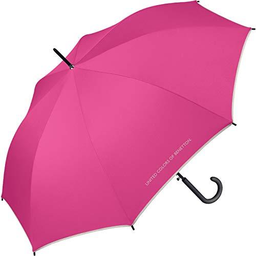 Benetton Regenschirm Stockschirm Automatik Schirm groß stabil robust (Fuxia)