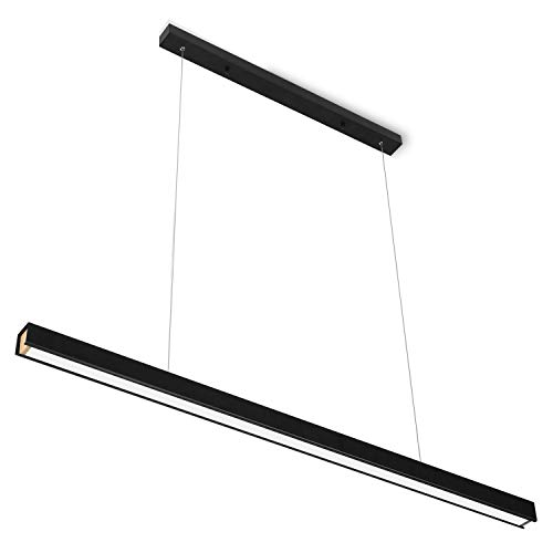 Lámpara colgante LED de color negro, altura regulable, diseño moderno, 46 W, lámpara de techo, lámpara de comedor, 3000 K, blanco cálido para oficina, comedor, dormitorio