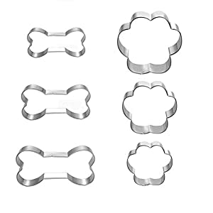 Dog Bone Cookie Cutters for Homemade Treats – 6 Piece – Including Three Different Size Dog Paws and Dog Bones