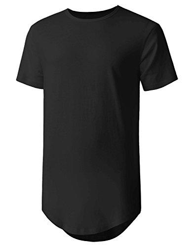 Mens Hipster Curve Hem Droptail Tee Premium Longline T Shirts (Medium, 1hc01_Black)