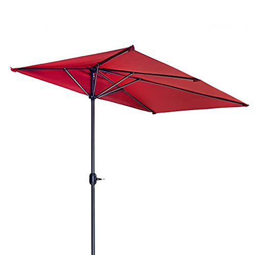 ZYFWBDZ Sombrilla de jardín de 2.3X1.2M, sombrilla de balcón, sombrilla Semi Redonda, sombrilla de manivela de Patio, sombrilla,Rojo