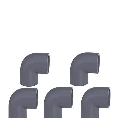 Original EXCOLO PVC Rohr und Rohrverbinder Ø 50 mm Winkel Kniestück Muffen T-Stück Kappen Fittings (5 x Winkel 90 °)