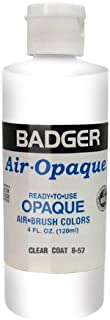 Badger Air-Brush Company Air-Opaque Airbrush Ready Water Based Acrylic Paint, Clear Coat, 4-Ounce