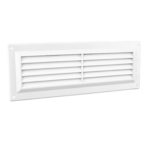 9' x 3' White Plastic Louvre Air Vent Grille with Flyscreen Cover