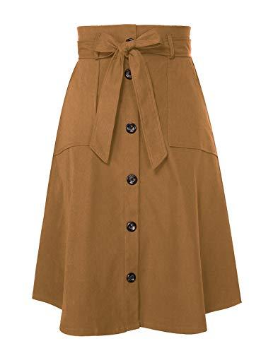 ANGGREK Mujer Falda de Cintura Alta de una Línea Falda Botón Midi Casual