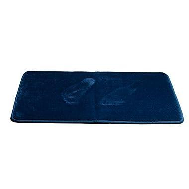 Klickpick Designs Memory Foam Thick Plush Bath Mat soft Bath Mats Non slip Washable Bathroom mat Absorbent Bath rugs Velvet Feel Microfiber Non Skid Bathroom Rug Carpet - Navy Blue,16x24 Inches
