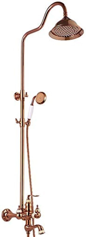Im europischen Stil retro Badezimmer Dusche System, aufgeladene 3-Wege Hahn mit Hand- und Kopfbrause, an der Wand montierten Satz Dusche
