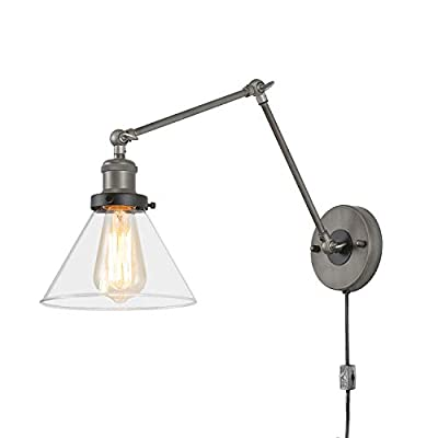 LNC Swing Arm Wall Sconce Lamp, Industrial Plug-in & Hardwire Lighting with Cord, Clear Glass Shade, Bedroom, Reading